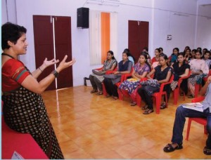 Mrs. Elizaba Kurian, Associate Director, CREDAI, Kochi engaging a session on Communication skills.