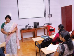 "An interactive session on ""Communicating effectively in English"" by Mrs. Sheela Abraham, Journalism and Communication Faculty to a number of institutions and Director, SNEHAM."
